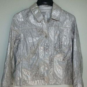 Chico's Silver Short Jacket Embroidered Size 1